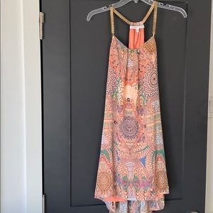 Pink printed dress with gold neck accent